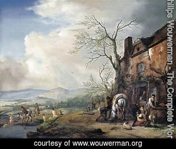 Philips Wouwerman - Landscape with Peasants by a Cottage 1651-53