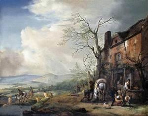Landscape with Peasants by a Cottage 1651-53