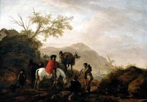 Philips Wouwerman - Scene on a Rocky Road 1648-49