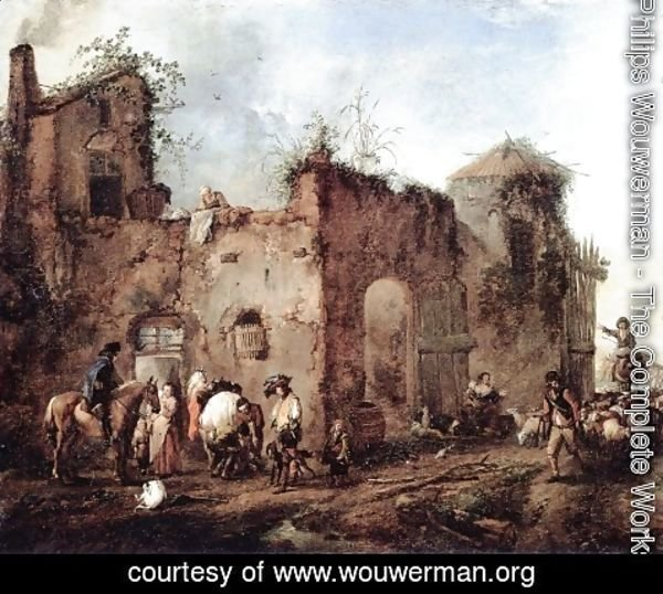 Philips Wouwerman - Courtyard with a Farrier Shoeing a Horse