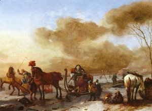 Philips Wouwerman - A Winter Landscape with Horse-Drawn Sleds