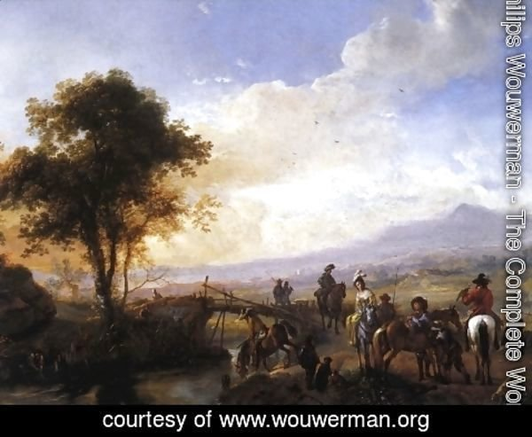 Philips Wouwerman - A Hawking Party