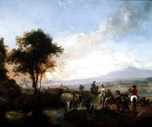Philips Wouwerman - River landscape with travellers by a bridge