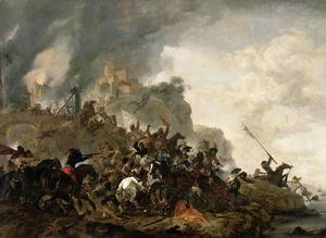 Philips Wouwerman - Cavalry Making a Sortie from a Fort on a Hill, 1646
