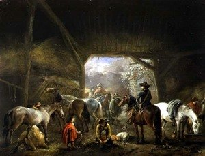 Philips Wouwerman - Sheltering from the Storm: a Stable with Travellers Resting on their Mounts