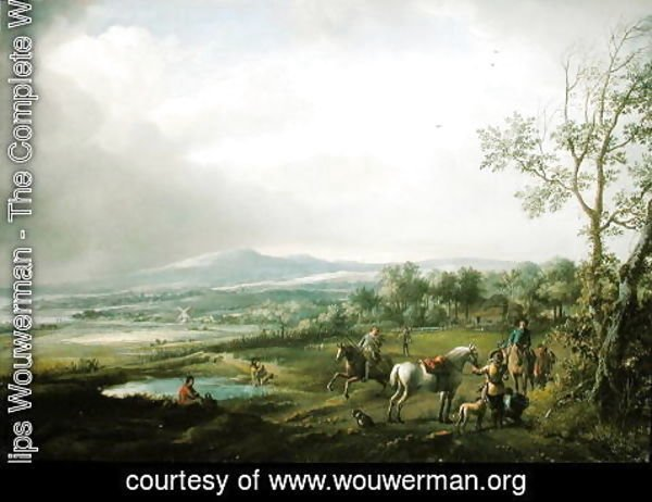 Philips Wouwerman - A Hawking Party in an Extensive Landscape