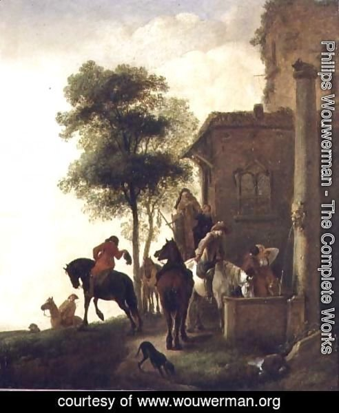 Travellers Watering Their Horses Outside an Inn