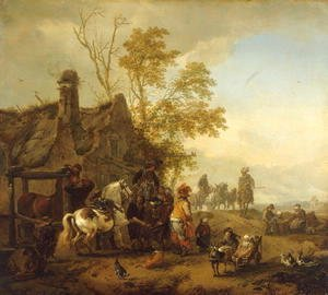 Philips Wouwerman - A Dappled Horse outside the Smithy
