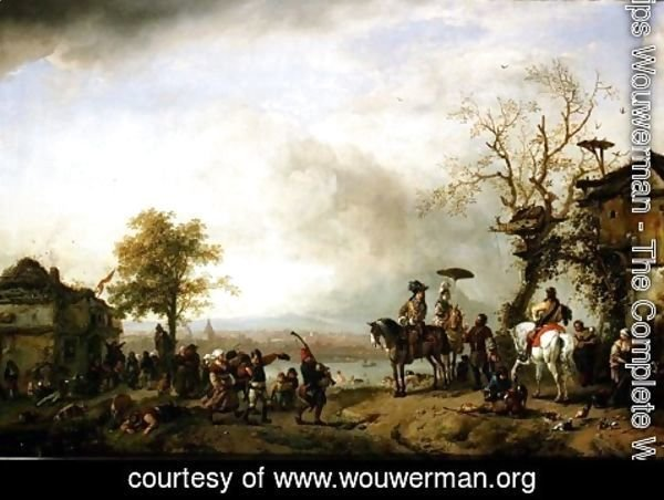 Philips Wouwerman - Landscape with Kermis (The Rustic Wedding) c.1653-59