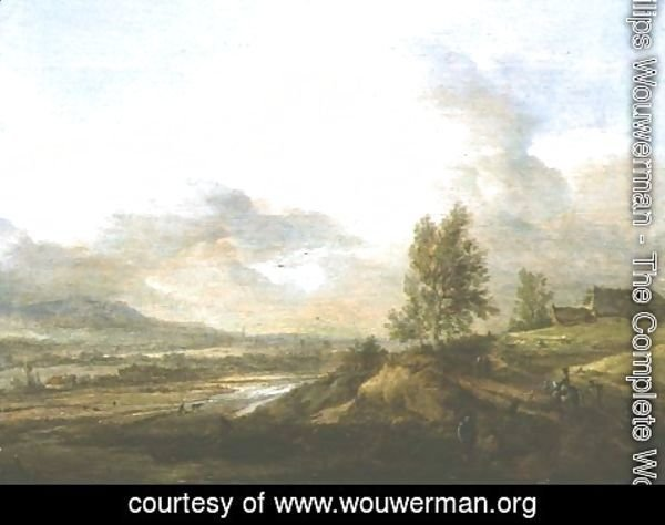Philips Wouwerman - Landscape with fisherman