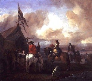 Philips Wouwerman - Cavalrymen in a Military Encampment