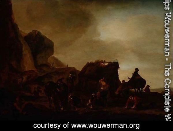 Philips Wouwerman - Travellers and Beggars by a ruined hut