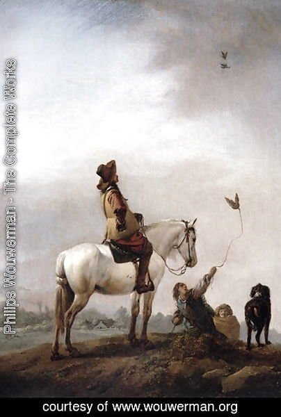 Gentleman on a Horse Watching a Falconer