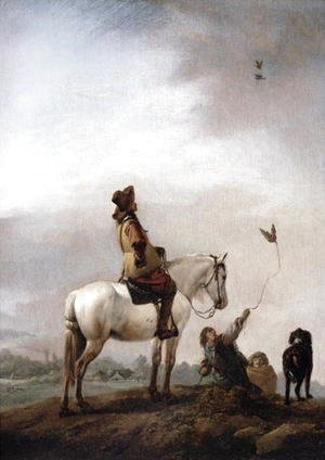 Philips Wouwerman - Gentleman on a Horse Watching a Falconer