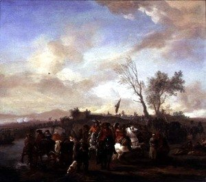 Philips Wouwerman - An army on the march