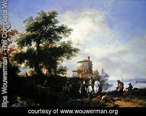 Philips Wouwerman - A river landscape with a gentleman and lady riding to the chase