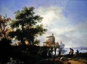 A river landscape with a gentleman and lady riding to the chase