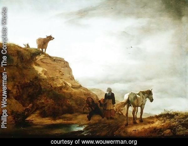 Landscape with a Grey Horse and Figures by the Wayside