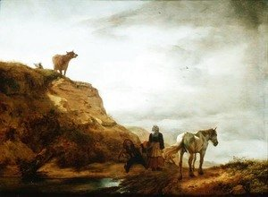Philips Wouwerman - Landscape with a Grey Horse and Figures by the Wayside