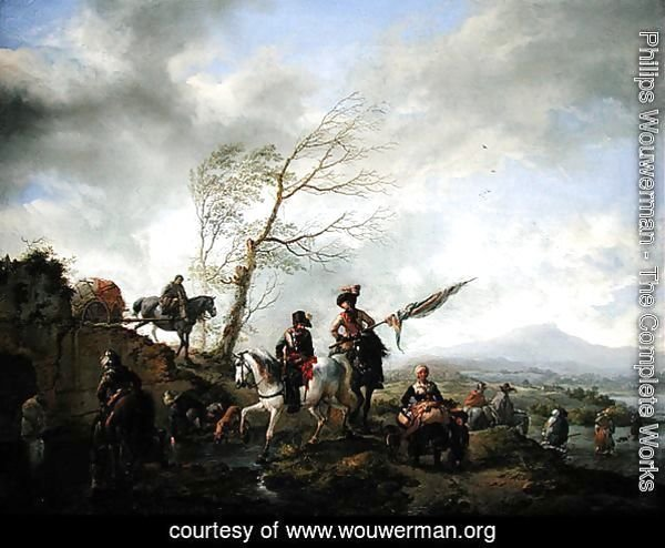 Landscape with Soldiers Watering their Horses