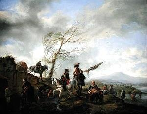 Philips Wouwerman - Landscape with Soldiers Watering their Horses