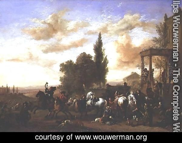 Philips Wouwerman - The Departure of a Hunting Party from a mansion