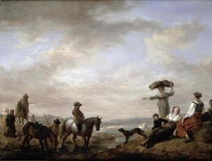 Philips Wouwerman - Landscape with a gentleman on horseback fording a stream