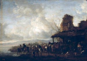 Philips Wouwerman - The Stable of a Dilapidated House, c.1640