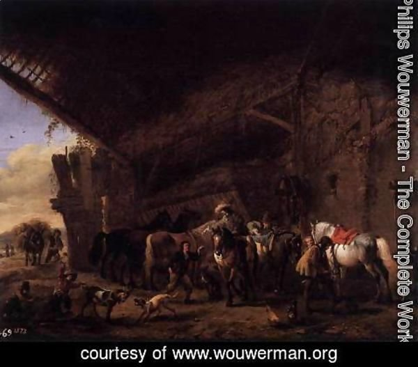 Philips Wouwerman - Coming out of an Inn