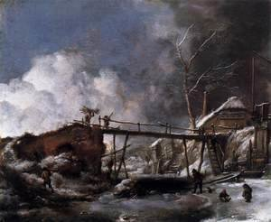 Philips Wouwerman - Winter Landscape with Wooden Bridge