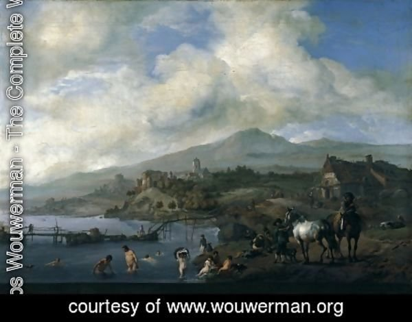 Philips Wouwerman - Landscape with Bathers c 1660