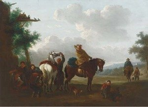 Philips Wouwerman - Travellers at halt by a blacksmith's cottage