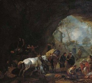 A grotto with travellers unloading a wagon, a gypsy fortune-teller, a blacksmith and other figures