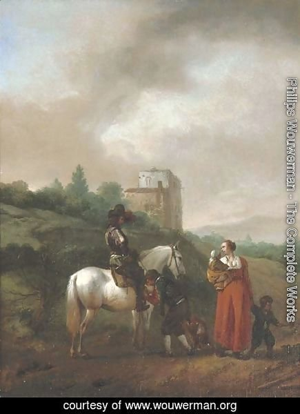 A man on a white horse conversing with a woman and children on a track, a house beyond