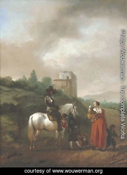 Philips Wouwerman - A man on a white horse conversing with a woman and children on a track, a house beyond