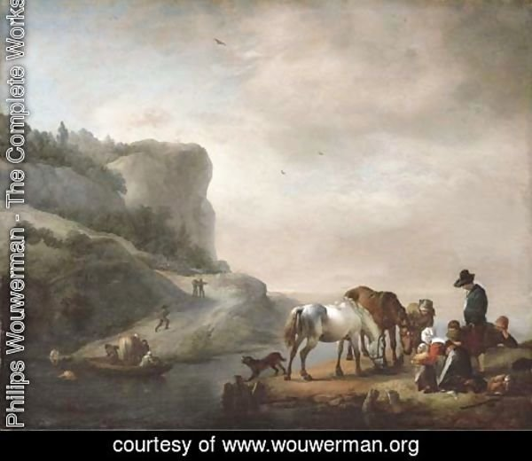 A river landscape with peasants and horses on the shore and a ferry crossing