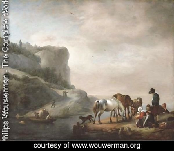 Philips Wouwerman - A river landscape with peasants and horses on the shore and a ferry crossing