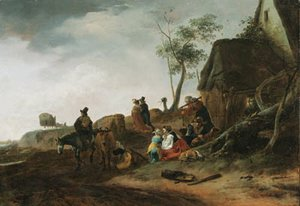 Philips Wouwerman - A traveller on horseback, a milkmaid and peasants by a cottage in a landscape, an elegant couple and a carriage beyond