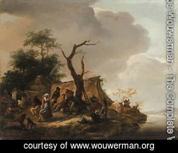 Philips Wouwerman - Peasants merrymaking by a river