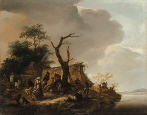 Peasants merrymaking by a river