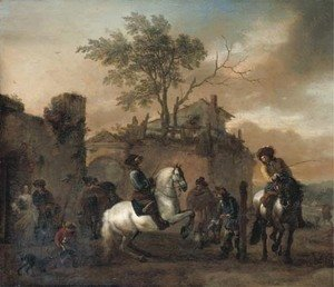Philips Wouwerman - The riding school