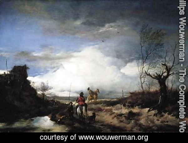 Two men hawking in an extensive landscape
