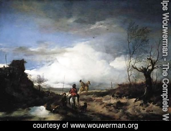 Philips Wouwerman - Two men hawking in an extensive landscape
