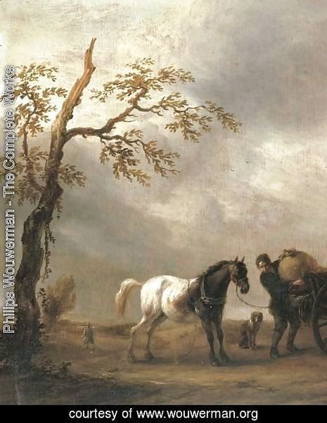 A horse stalling with a peasant loading a cart in a landscape