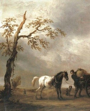 Philips Wouwerman - A horse stalling with a peasant loading a cart in a landscape
