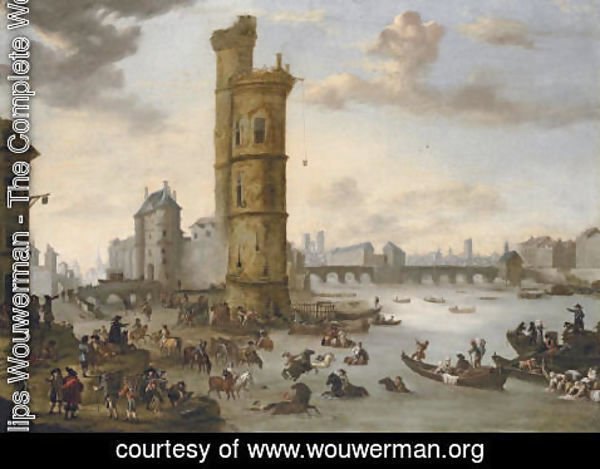 Philips Wouwerman - Horsemen bathing their mounts at the Tour de Nesle with the Porte de Nesle and the Pont-Neuf beyond, Paris