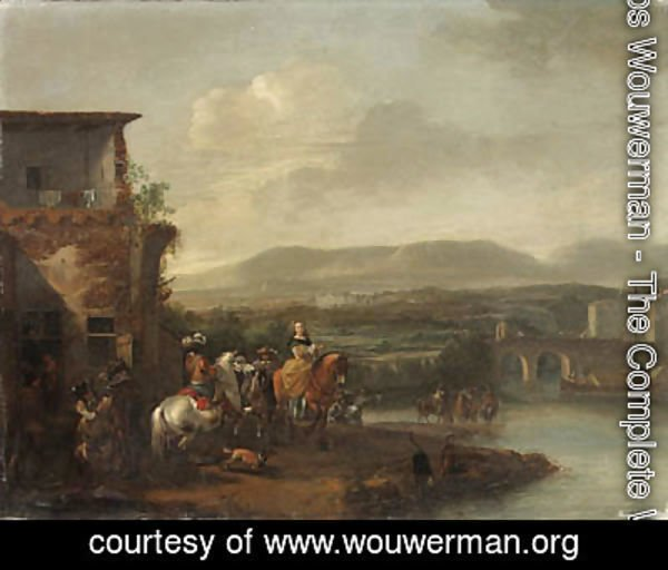 Travellers outside an Inn by a River, an extensive landscape with a bridge and a manor house beyond