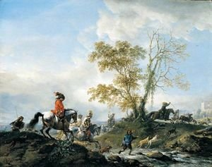 A landscape with a stag hunt in full cry, fording a stream