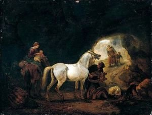 Philips Wouwerman - A man staddling a white horse in cave