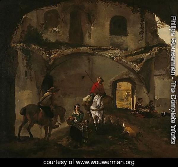 An Italianate Landscape With Two Riders And Other Figures Beneath Ruined Buildings